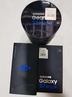 Samsung S7 Edge Samsung S8+ Samsung Gear S3 Empty box