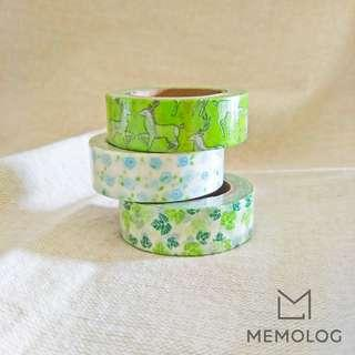 Set of 3 Green Leaves and Flower Washi Tape