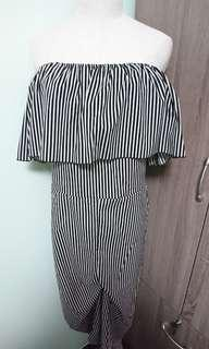 New Plus Size Off Shoulder Striped Maxi Romper 2XL