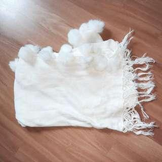 White fluffy ball knitted shawl scarf