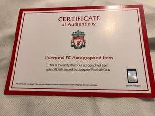 Certified rare new lucky collector's item Liverpool Football Club memorabilia
