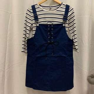(NEW) Overall Dress Set With Ribbed Long Sleeved Tee