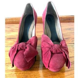 Marni Fuchsia Pink Red Suede Pump Heels