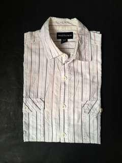 White with Brown Stripes Button Down Short Sleeve Shirt