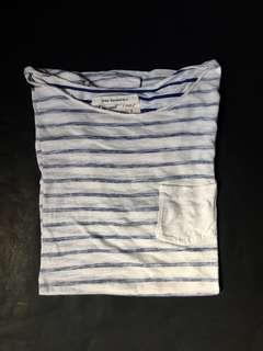 White and Blue Stripes T-Shirt