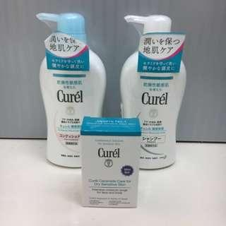 Curel Hair shampoo and conditioner 420ml (Free mini travel set)