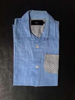 BENCH Denim Button Down Short Sleeve Shirt