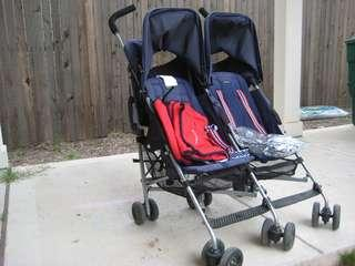 Brand New Maclaren Twin Triumph Stroller with Raincover