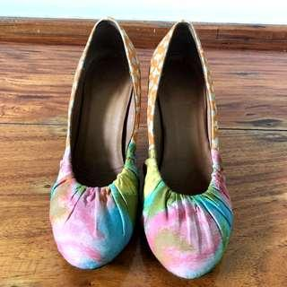 DRIES VAN NOTEN Rainbow Fabric Shoes with Kitten Heels
