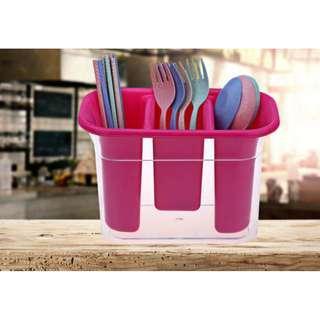 DRAIN DINNERWARE STORAGE BOX CREATIVE CANDY-COLOR DOUBLE PLASTIC CHOPSTICKS CAGE KITCHEN CUTLERY