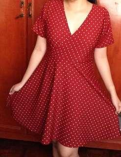 RED POLKA DOTS WRAP AROUND DRESS