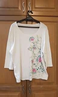 Plus Size White Tops (3/4 length)