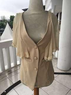 Nude chiffon outer / semi blazer