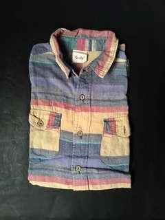 Colorful Stripes Button Down Half Sleeve Shirt