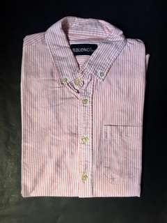 BALENO Pink and White Stripes Button Down Short Sleeve Shirt