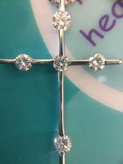 💒✨ 鉑金天然鑽石十字架頸鏈 ✨💒