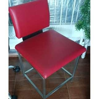 Red leather cosmetic chair not ikea picker & rail