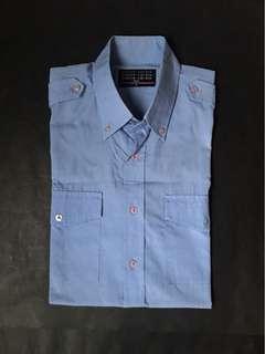 PIERRE CARDIN Blue Button Down Short Sleeve Shirt