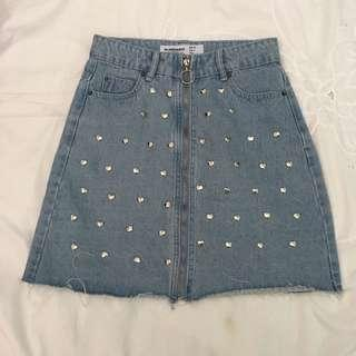 Denim Skirt with Heart Studs