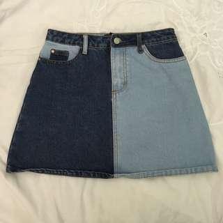 Two-toned Denim Skirt