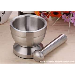 DOUBLE STAINLESS STEEL GARLIC GRINDER SUITABLE FOR PEPPER CHILLIES DRIED FOODS HERB MILLS MINCERS (SILVER)