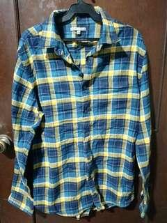 Uniqlo Green Flanel Long Sleeve Polo Size XL