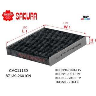 SAKURA CABIN AIRCON FILTER CAC-11180, CAC11180, 87139-26010N,TOYOTA HIACE VAN, KDH221R-1KD-FTV , KDH223 -1KD-FTV , KDH212 - 2KD-FTV  ,TRH223 - 2TR-FE