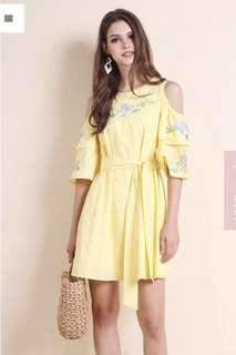 Madebynm Rosalie Embroidery Cold Shoulder Dress In Sunshine