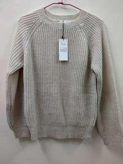 日本 E hyphen 米白小金蔥毛衣