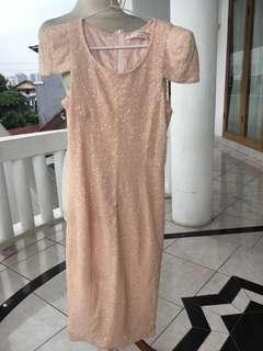 Sequin nude dress korean look