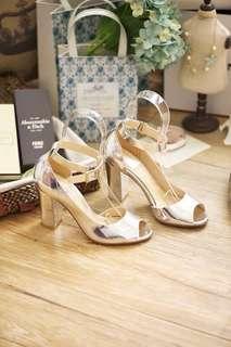 🚚 全新-40/25手工真皮銀色粗跟魚口鞋高跟涼鞋 (260).