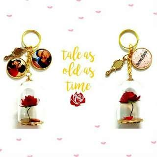 🚚 Custom beauty and the beast rose jar keychains