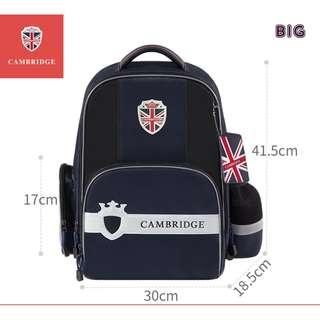 🚚 Cambridge School bag Korea style Primary 1 to Primary 6 Air-Cell Spinal Protection Night Reflective Waterproof backpack for Girls and Boys - Dark Blue (Big)