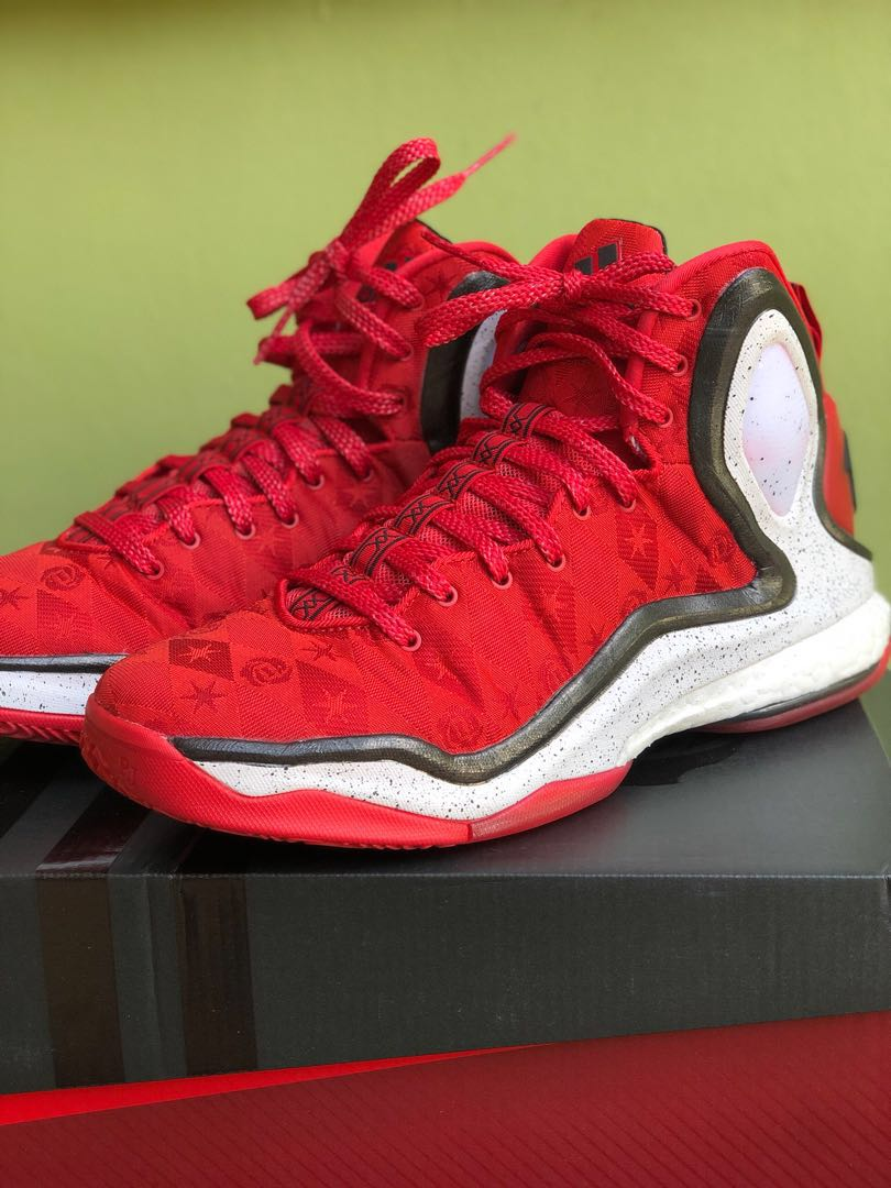 194bcac1554c Adidas D Rose 5 Boost Woven Red White Basketball Shoes Size 10 with ...
