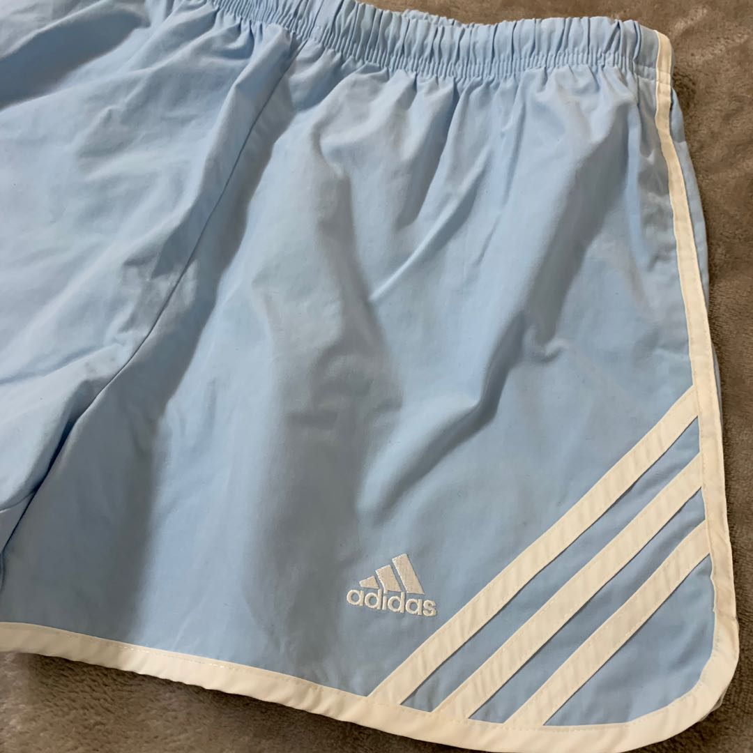 908477aea Adidas Shorts women's light blue, Sports, Sports Apparel on Carousell