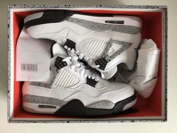 "buy popular 65b31 c0417 Air Jordan 4 Retro OG ""WHITE CEMENT, Men s Fashion, Footwear ..."