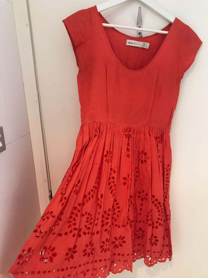 Alice McCall watermelon broderie anglaise picnic dress size 6-8