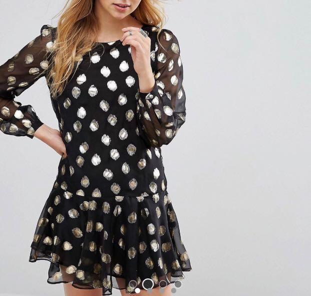 ASOS @ Glamorous Metallic Dotty Ditsy Print Ruffle Hem Swing Chiffon Mini Dress Celebrity Blogger Small NWT
