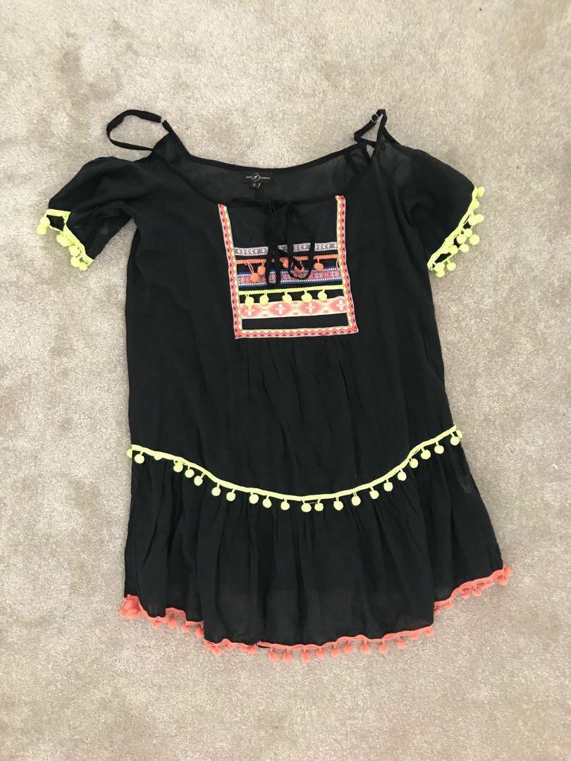 ASOS Boho Hippy Swing Pom Pom Detail Ruffle Sleeveless Kaftan Beach Dress Small