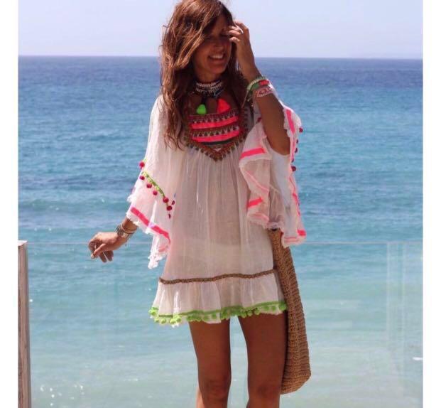 ASOS Boho Hippy White Floral Embroidered Pom Pom Detail Bali Tunic Kaftan Dress Celebrity Blogger