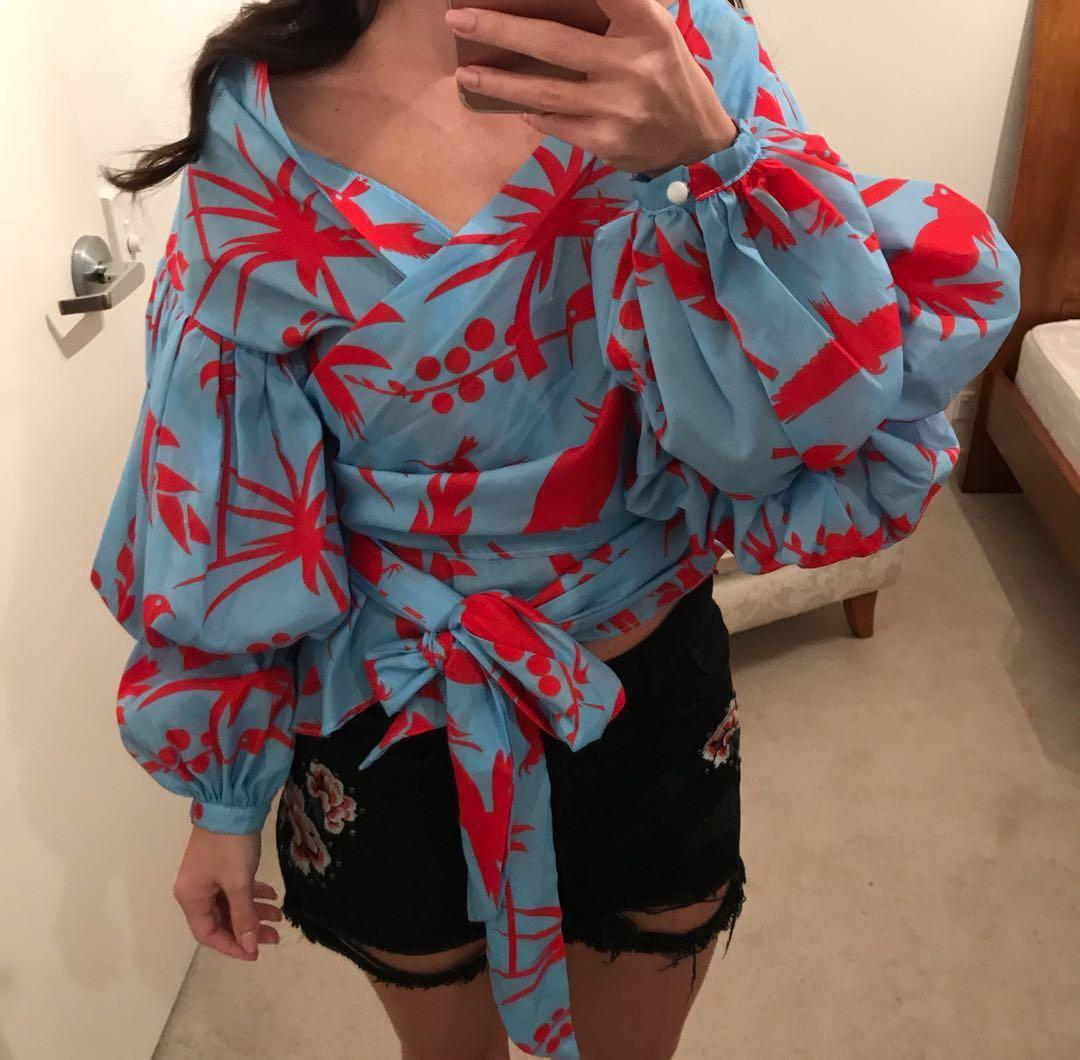 ASOS Trend Printed Off Shoulder Bell Sleeve Tropical Print Boho Hippy Wrap Front Tie Bow Blouse Top Celebrity Blogger