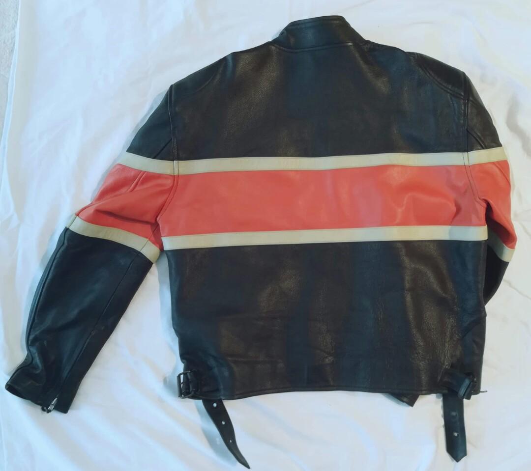Black and orange medium mens leather motorcycle jacket
