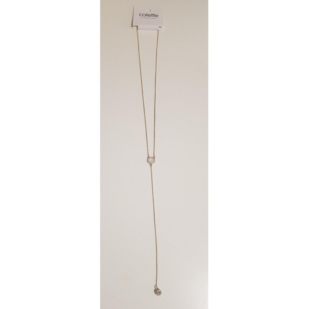 BRAND NEW WITH TAGS COLETTE ROSE GOLD DROP STONE NECKLACE RRP$12.99