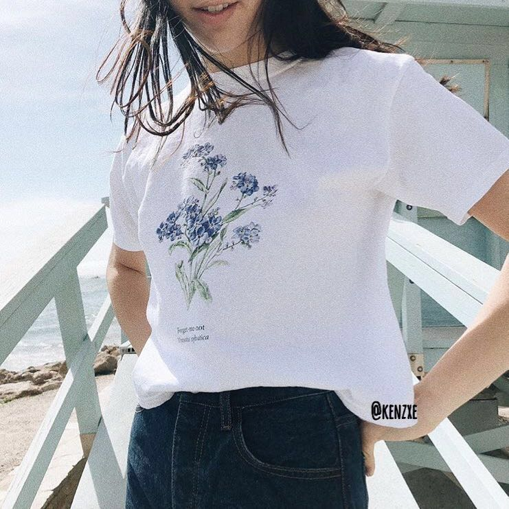 97251515fb Brandy Melville Forget Me Not White Aleena Tee Shirt Top
