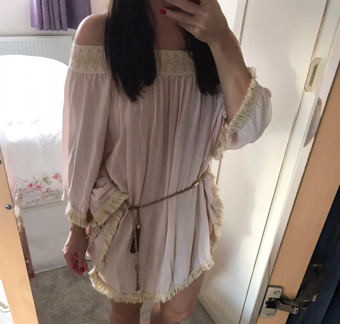 Celebrity Blogger Boho Hippy Bali ASOS Luxury Resort Silk Fringe Tassel Bardot Kaftan Beach Dress