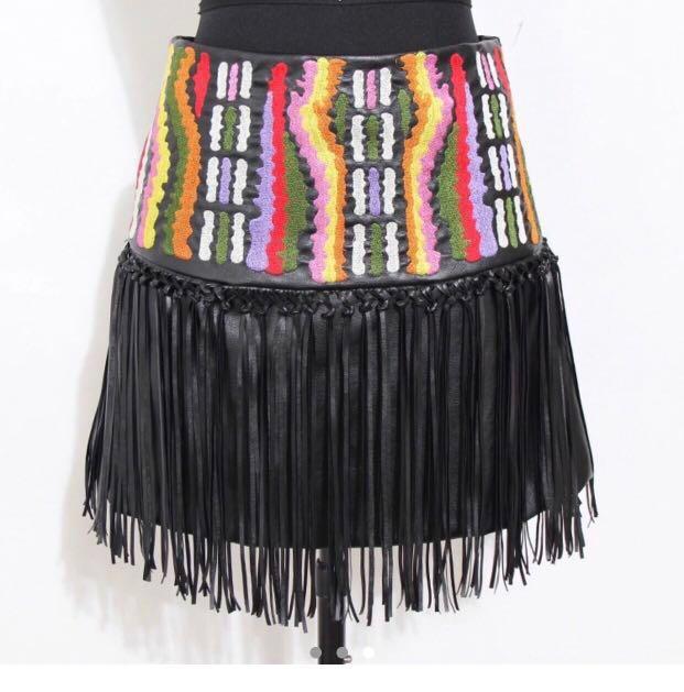 Celebrity Blogger Kardashian Trend Bali Boho Hippy High Waisted Embroidered Fringe Tassel Festival Faux Leather Skirt ASOS Pepper Mayo