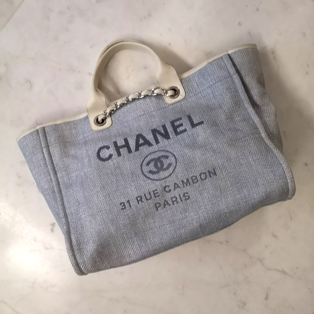 8c394ee9656 Chanel Deauville Tote L size in light blue