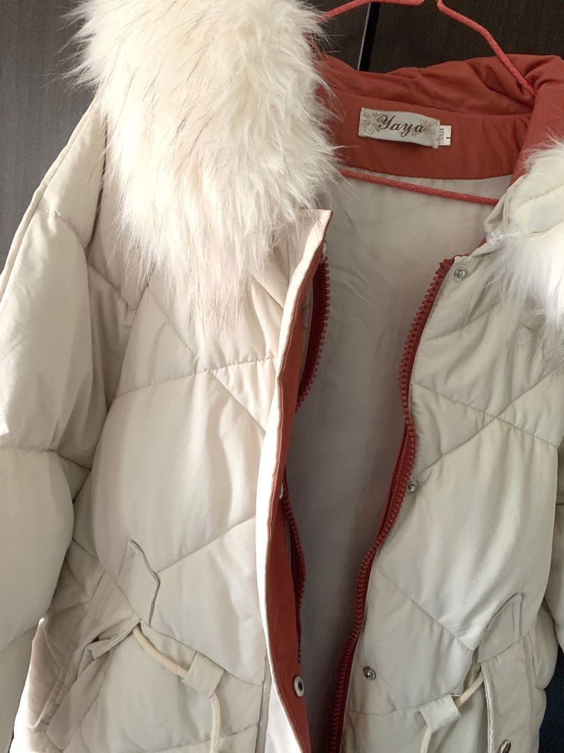 best shoes price reduced cheapest sale Cream with dusty pink details Winter Coat/Jacket with Fur