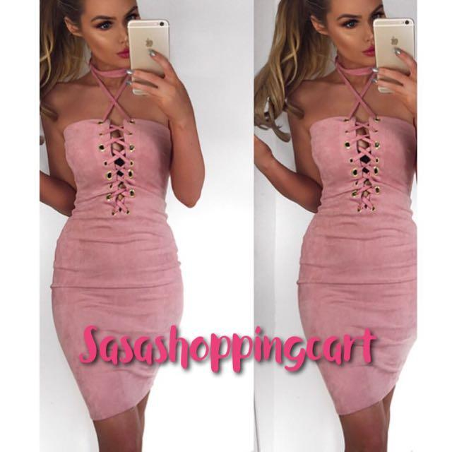 😆FREE SHIPPING* under 500g😆(Pink) Europe and the United States the new sexy cross strap hanging neck bracelet nightclub dress dress