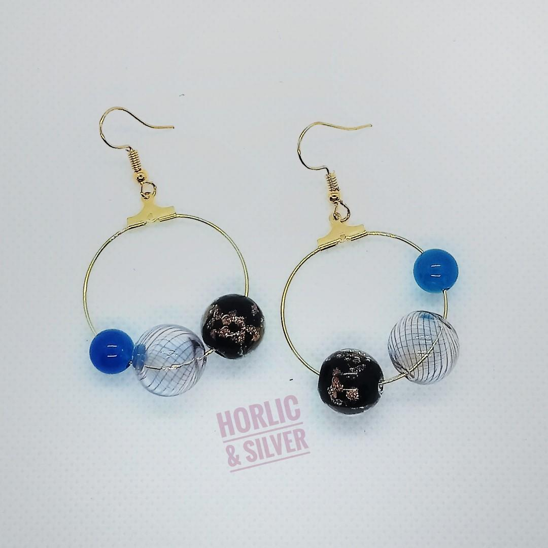 【Handmade耳環系列】 琉璃珠黃銅k 金耳環